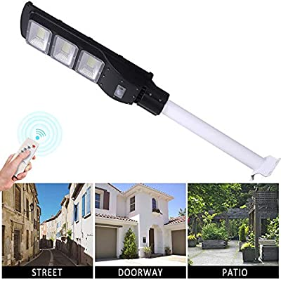 Dailyart LED Solar Street Light Solar Powered with Remote Control and Motion Sensor Weatherproof Dusk to Dawn Bright Outdoor Seculity Lights for Yard, Garden, Basketball Court, 6000K, IP65, 90W