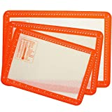 VEHHE Silicone Baking Mat with Measurements - Set of 3 Non-Stick Half Cookie Sheet Mats - Reusable Heat Resistant Baking Tray Pan Liners for Macarons Bread Pastry - Professional Grade Food Safe