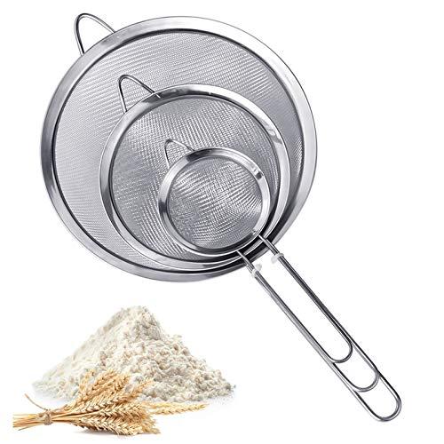 Tamiz de cocina de malla fina, 3 piezas de malla de 7 cm, 12 cm y 18 cm, coladores de acero inoxidable con mango y colador de borde tamiz para harina, espaguetis, frutas, verduras