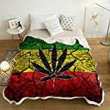 Rasta Flag Pattern Sherpa Flannel Throw Blankets Thick Reversible Plush Fleece Blanket for Bed Couch Sofa Decor Marijuana Leaf on Crack Soil Texture,Ultra Soft Comfy Warm Fuzzy TV Blanket 40x50Inch