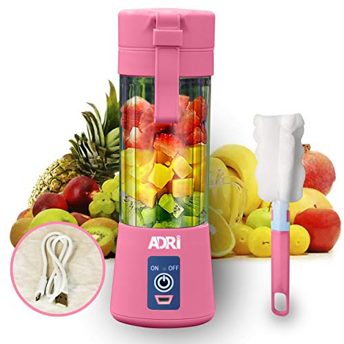 Blender Smoothie Makers, Portable Blender Personal Blender Mini Smoothies Shakes Juicer Cup USB Rechargeable (Pink)
