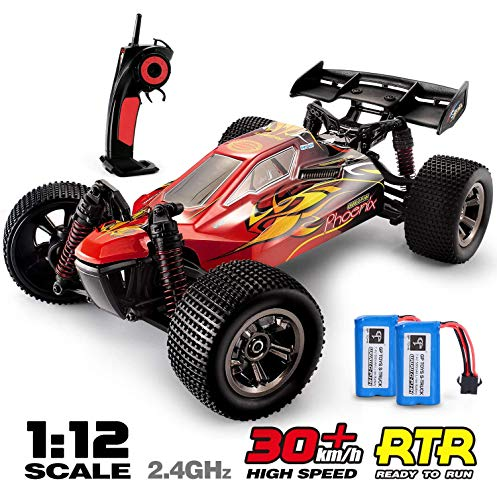 RC Trucks, 1:12 Scale Remote Control Car 2.4Ghz All Terrain Off-Road Hobby RC Cars, 2 Rechargeable Batteries, Toy Cars for Boys and Adults Beginner
