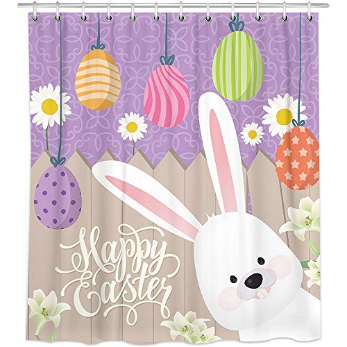 Bonsai Tree Easter Shower Curtains, Happy Easter Eggs Cloth Shower Curtains in Bath, Cute Bunny Holiday Bathroom Shower Curtains Rings Spring Home Decor Gifts 72x72 Inches