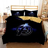 YOMOCO Marvel Movie Logo Juego de ropa de cama – Los Vengadores Funda nórdica y 2 fundas de almohada, microfibra, impresión digital 3D de tres piezas (10,Single 135 x 200 cm)