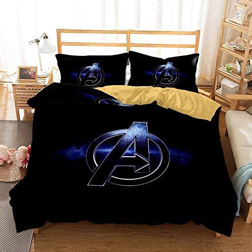 YOMOCO Marvel Movie Logo Juego de ropa de cama – The Avengers Funda nórdica y dos fundas de almohada, microfibra, impresión digital 3D (10,individual 135 x 200 cm)