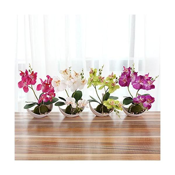 Flikool 3 Ramas Orquídeas Artificiales con Maceta in Plástico Bonsai de Phalaenopsis Flores Artificial Plantas…