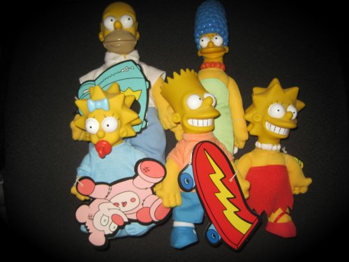 COMPLETE SET Vintage The Simpsons Family Doll Lot Burger King Toy 1990 Homer Marge Bart