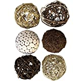 Blue Donuts Decorative Balls for Bowls – Decorative Balls for Centerpiece Bowl Fillers, Assorted Rattan Wicker Balls Orb Grapevine Ball, Vase Fillers, Pack of 6