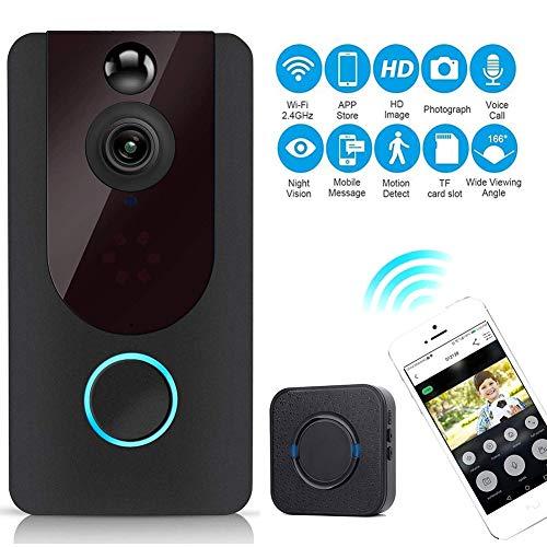 M-TOP video deurbel met camera, video doorbell WiFi draadloze intercomfunctie bewegingsmelder met monitor IP55 waterdicht 720P HD