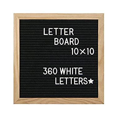 AMSTORM Black Felt Letter Board 10x10, Message Board Sign, Changeable Letter Boards with Letters are Equipped with Letters, Numbers and Symbols Total 300, Letterboards has Oak Frame