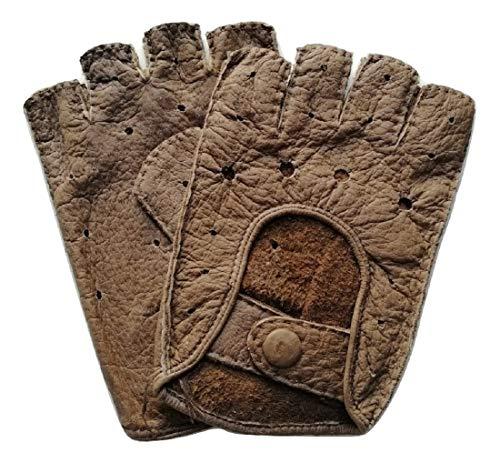 Exklusive fingerlose Auto-Handschuhe aus 100{15be4b1271e41c19c360a82b4a3a9da9718709c454d332959f2c02ded32962ee} echtem Peccary Leder, handgenäht, Herren, Damen (7,5, Fasan)