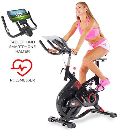 Miweba Sports Indoor Cycling MS300 Fitnessbike - 13 Kg Schwungmasse - Stufenfreie Widerstandsverstellung - Stoßdämpfer - Tablethalter (Schwarz)