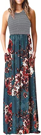 Gibobby Womens Summer Contrast Sleeveless Long Maxi Dresses Tank Top Floral Print Maxi Dress