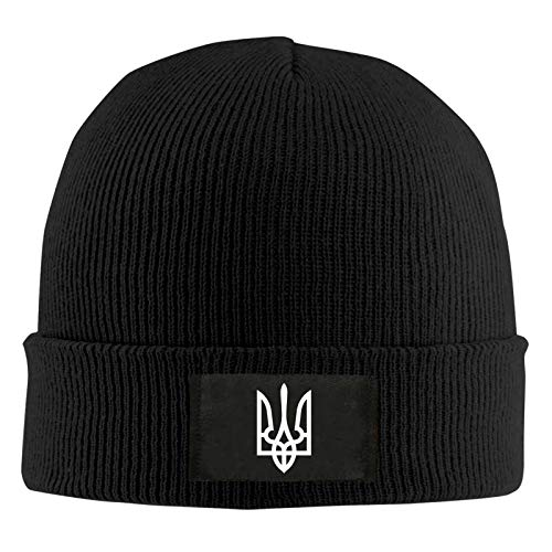 YVVY Ukraine Tryzub Proud Ukrainian Winter Hat Warm Knitted Hat Skull Hat Brimless Urinal Cap Hedging Cap Black