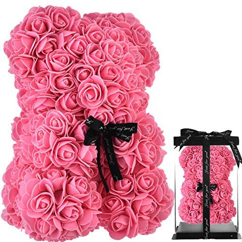 Oso de peluche rosa oso rosas oso rosa oso de rosas flores rosa osito de peluche, regalos para mamá sus mujeres niñas adolescentes madres san valentín aniversario - osos rosas con caja (rosado)
