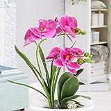 DWANCE Kunstblumen Schmetterling Orchidee im Topf Künstliche Blumen Deko Balkon Pflanze im Topf für Tischdeko Zimmer Balkon Garten Hochzeit Party Dekoration Lila - 4