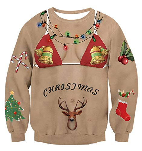 Uideazone Ugly Shirt with Underwear Shirts Women Men Christmas Pullover Sweatshirts X-mas Gift