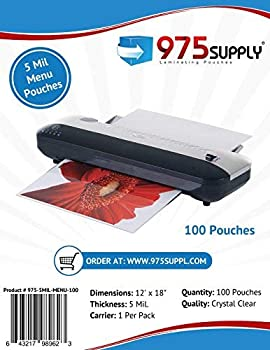 975 Supply 5 Mil Clear Menu Size Thermal Laminating Pouches 12 X 18 inches 100 Pouches