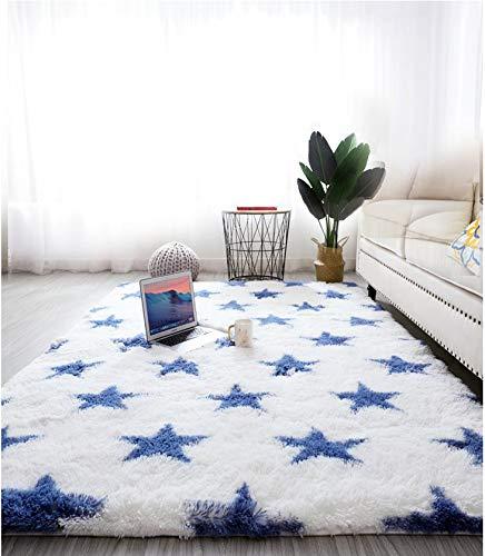 Tapis Salon Shaggy - Descente de lit Chambre Grande Taille Tapis Poils Longs Moderne tapid Moquette Poil Long tapi (Blanc avec des étoiles, 160 x 230 cm)