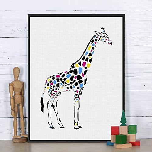 Geiqianjiumai Giraffe Bunte benutzerdefinierte Tier Kunstdruck Cartoon Poster wandbild leinwand malerei kinderzimmer Dekoration rahmenlose malerei 39x54 cm