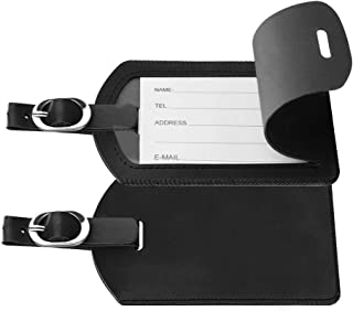 2 Pack Leather Name ID Labels with Back Privacy Cover Luggage Tags
