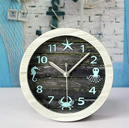 Yaju Quarz Pendeluhr Kaminuhren,Retro-alte Holz Uhr Desktop-Quallen Krabbe Fisch Seestern Sit Uhr 12 * 12cm