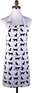 Lovely Durable Comfortable Cat Print Pattern Apron Canvas Adjustable Kitchen Apron with Pockets for Women Girls, Black