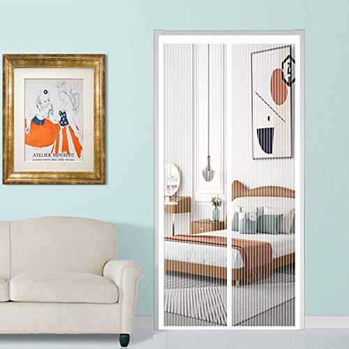 YUANBIAO Mosquitera Magnética para Puerta 110x250cm Ventilación de Verano Puerta Mosquitera Plegable para Balcones, Puertas Interiores y Exteriores, Blanco
