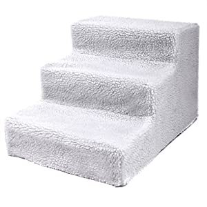 COZIWOW Doggy Steps – Non-Slip 3 Steps Pet Stairs, Cute Pet Stair with Removable Cover, for Dogs and Cats, Slip Resistant, High Bed in White