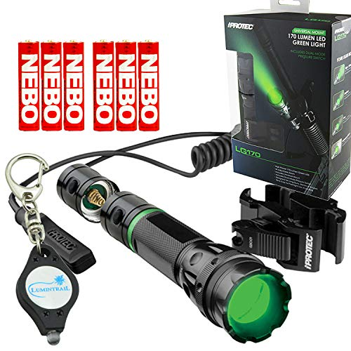 iProtec Nebo 6113 LG170 Tactical Green LED Flashlight with Universal Mount & Dual Mode Pressure Switch, Includes 6 Nebo AAA Batteries and Lumintrail Keychain Light