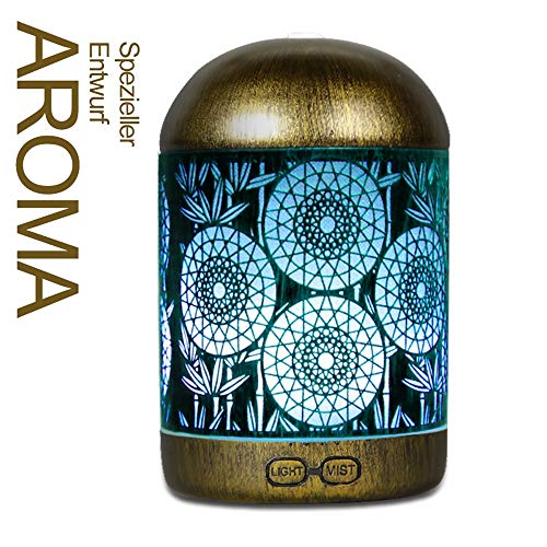 Aroma Diffuser  infinitoo 300ml Luftbefeuchter Ultraschall Metall Aromatherapie Diffusor für ätherische Öle  Aktualisierte Version Raumbefeuchter, 7 Farbe für Zuhause Büro Oder Yoga