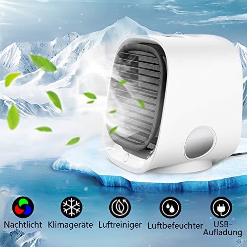 4 in 1 Mobile klimageräte,Mini Persönliche Klimaanlage Leise Luftkühler Air Cooler Ventilator USB Klimaanlage Klein Luftbefeuchter Luftreiniger 3 Geschwindigkeiten mit Licht für Zuhause und Büro