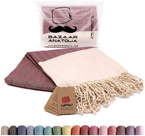 Bazaar Anatolia Herringbone Turkish Towel 100 Cotton Peshtemal Bath Towel 77x38 Thin Lightweight product image