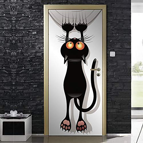 QYJMT 3D Türaufkleber Selbstklebendes Türbild Cartoon Tier Katze 88X200Cm Abnehmbare Tür Tapete Diy Wohnzimmer Schlafzimmer Tür Poster Kinderzimmer Büro Wandaufkleber Tür Kunst Dekoration