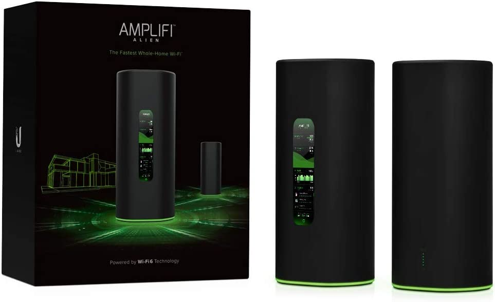 AmpliFi Alien WiFi 6 WiFi System, Seamless Whole Home Wireless Internet Coverage, WiFi Router with Touchscreen Display, 4 Gigabit Ethernet Ports, Ethernet Cable, and MeshPoint