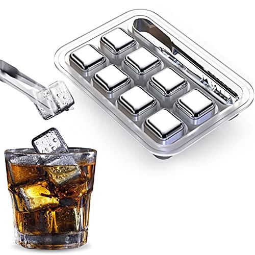 Whisky Eiswürfel Ice Cubes 8er Set Edelstahl Wiederverwendbare Edelstahl Kühlsteine Whiskey Cooling Eiswürfel Ersatz für Cocktails, Drinks - Inkl GRATIS Zange