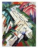 Montañas de Franz Marc Cuadro en Lienzo | Lienzos Decorativos | Cuadros Decoración Dormitorios | Cuadros Decoración Salón | Cuadros y láminas (20x25cm (7.8x9.8in), Sin Marco)