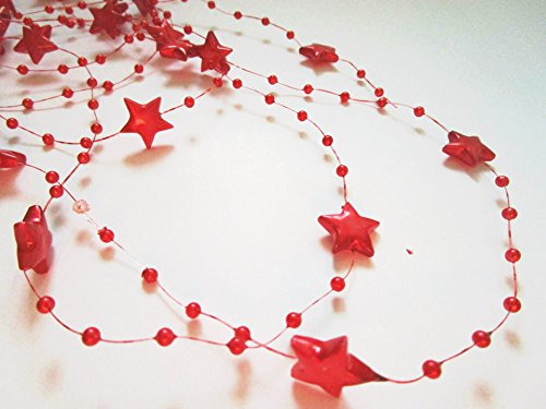 10m Perline Ghirlanda 3 e 8 mm Stella Natale : Rosso