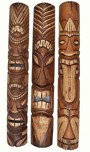 3 piezas Tiki Máscara Pared Máscara de Pared En El Hawaii Buscar De Madera in 100cm Largo