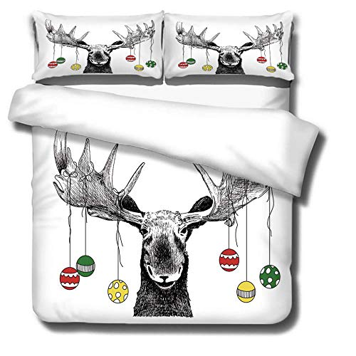 DJDSBJ Duvet cover 260x240cm bedding with Deer head pattern + 2 pillowcases,3-piece polyester quilt cover