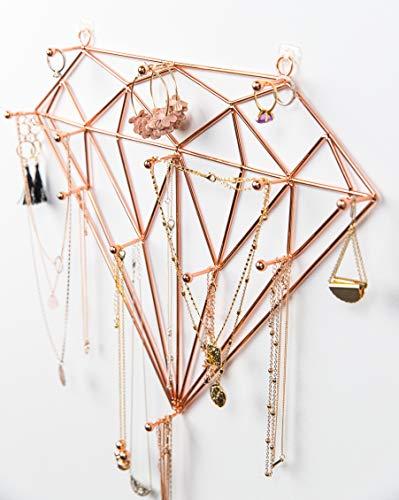 Ruby Mae Jewelry Wall Organizer   Diamond Rose Gold Jewelry Organizer for Necklaces, Bracelets, Earrings, Rings   Necklace Organizer with Large Jewelry Hooks   Hanging Jewelry Organizer Wall Mounted