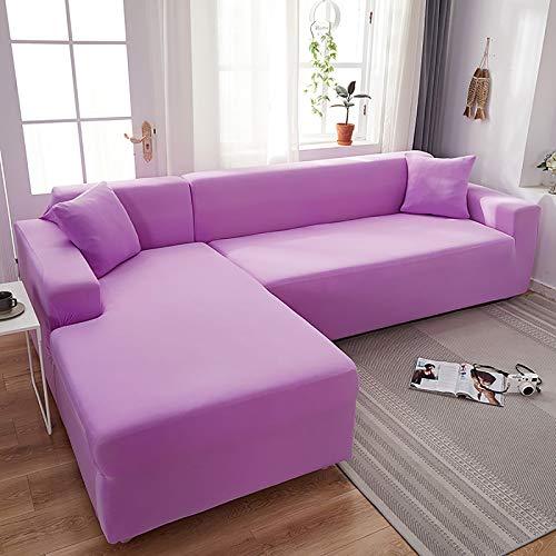 HONG 2 Piezas Funda para Sofá en Forma de L Fundas Sofa Chaise Longue 2 3 4 plazas con Funda de Almohada Protector de sofá Protector Ajustable de Sofá Cubre B,145~185+190~230cm