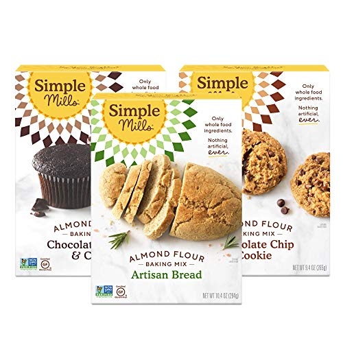 Simple Mills Almond Flour Mix Variety Pack: 1 Artisan Bread 1 Chocolate Chip Cookie 1 Chocolate Muffin amp Cake 3 Count Combo 3 PACKAGING MAY VARY