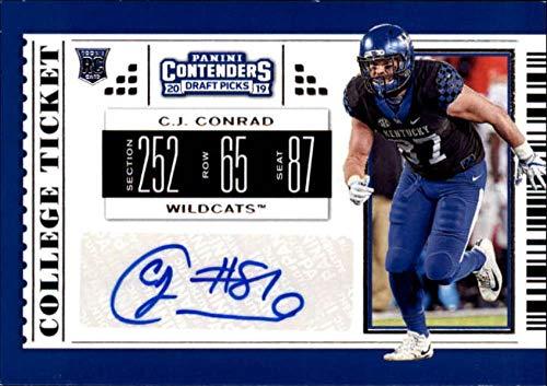 2019 Panini Contenders Draft Tickets College Ticket #205 C.J. Conrad RC Rookie AUTO Kentucky Wildcats NCAA Football Trading Card