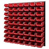 Wandregal Stapelboxen Lagersystem - 772 x 780 mm – 63 Stück Boxen Werkstatt Schüttenregal Werkzeuglochwand (Rot)