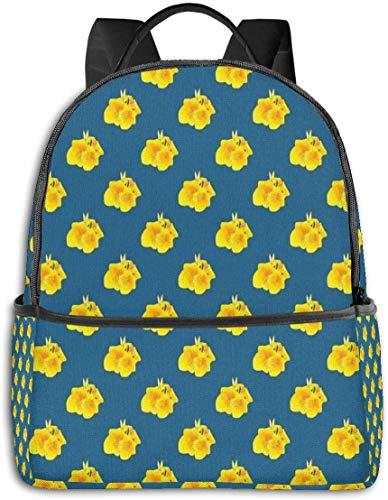 Schultasche doppelte Schwarze Rucksäcke, Canna Lily Blumenmuster auf blauem Hintergrund blühendes Laub, lässige Wandern Travel Daypack 12 '5' 14,5 'LWH