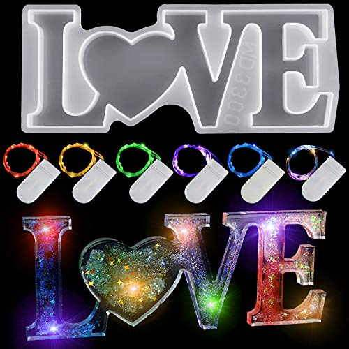 7 Pieces 3D Love Mold for Resin Set Valentine's Day Mold 1 Piece Love Mold for Resin Epoxy Resin Molds and 6 Pieces Fairy Light for DIY Table Decoration Art DIY Craft