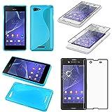 ebestStar - kompatibel mit Sony Xperia E3 Hülle D2203 TPU S-line Style Silikongel Handyhülle, Schutzhülle Hülle Cover, Blau + Panzerglas Schutzfolie [Phone: 146 x 72 x 7.3mm, 5.2'']