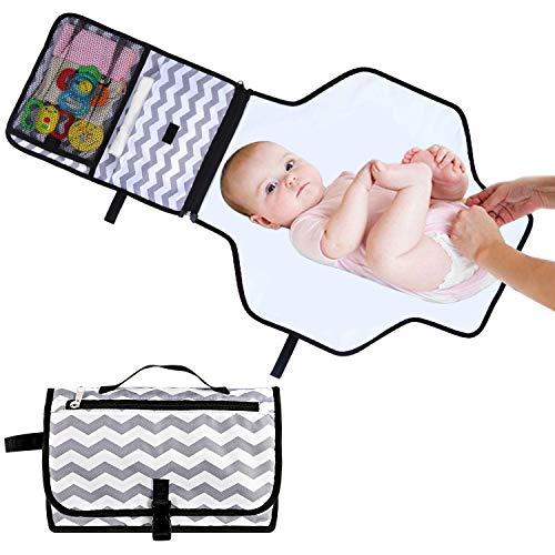 Cambiador Portátil de Pañales para Bebé, Impermeable Esterilla Lavable de Quita Bolsa para Cambio de Pañales - Colchones Plegables para Cambiador Kit de Viaje - Perfecto como Regalo