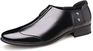 AiHua Huang Oxfords for Men Business Casual Loafers Slip On Pointed Toe PU Leather Metal Decoration Anti-Slip Stitch Breathable Lining (Color : Black, Size : 8 UK)